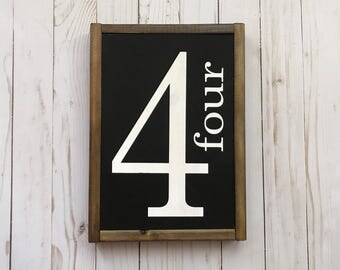 """9""""x12"""" BESTSELLER Family Number Sign, farmhouse, modern farmhouse, farmhouse decor, fixer upper, vintage, rustic wood sign, number sign"""