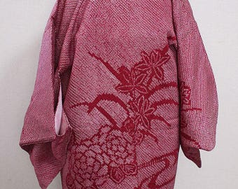 second hand Japanese haori kimono jacket for women, shibori, silk
