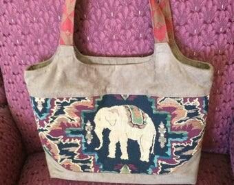 Elephant tapestry decorator handmade handbag tote purse