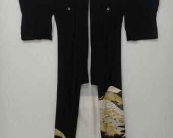 Vintage Japanese Kimono/Long Kimono/Kimono Embroidery/Vintage Kimono Silk