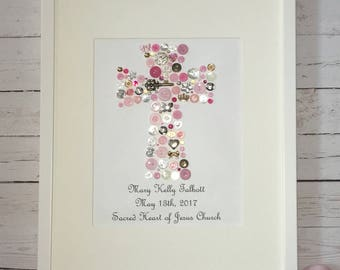 Cross Button Art, Communion Gift, Christening Gift, Baptism gift, Pink Blue Cross, Cross Art, Religious Art, Christian Wall Art, Baby Gift