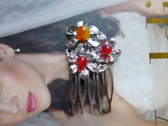 Chinese Sliver Flower and Red Beads Hair Accessories Hair Comb Hair Clip Hair Stick Hair Pins
