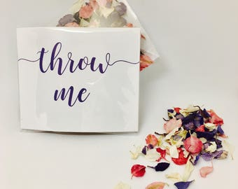 Biodegradable confetti - dark pink and purple with off white petals - eco friendy flowers - 'throw me' packet - vintage wedding decoration