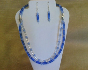 294 Vintage Style Two Tone Blue Tube Beads Two Strand Beaded Necklace