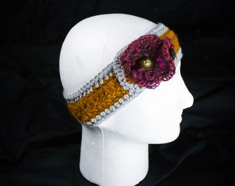 Autumn Leave Handspun Yarn Comfy Ear warmer with Flower and Button