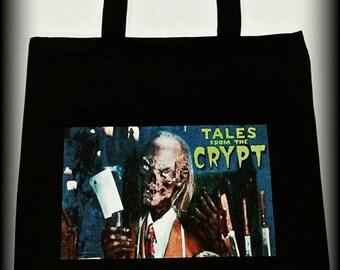Tales From The Crypt, Tales From The Crypt LARGE tote bag, Horror Bag, 90's Horror, Crypt Keeper Bag, Horror Purse, Horror Tote, Gothic bag