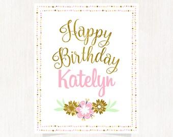 Happy birthday poster, Happy birthday gift, Happy birthday sign, Personalized birthday poster, Baby birthday poster, Baby birthday sign 1595