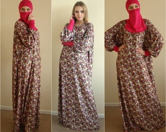 Flower Prayer dress, Farasha Caftan, Khimar dress, Muslim dress, Plus Size dress,abaya Maxi Dress,Modern hijab, Burqa, Namaz salat dress