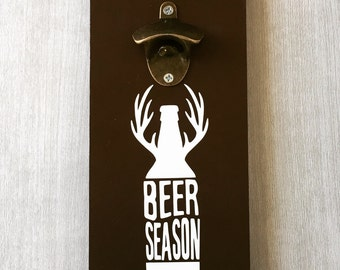 Beer Season / Deer Hunting Sign / Wall Beer Opener / Deer Decor / Hunting Gift / Cabin Sign / Deer Silhouette Sign / Bottle Opener Antlers