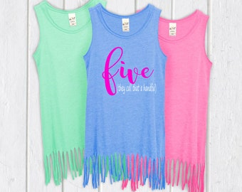 Funny Five Year Old Dress- 5th Birthday Outfit - Five They Call That a Handful - Girls Five Shirt - Fifth Birthday Dress - Girls Summer Dres