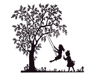 Life-Size Tree Decal for Nursery Removable Vinyl Sticker with Swinging Girl