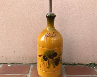 VINTAGE french pottery olive oil bottle jug HAND PAINTED 12041715