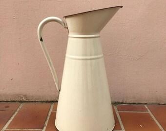 Vintage French Enamel pitcher jug water enameled beige 1604171