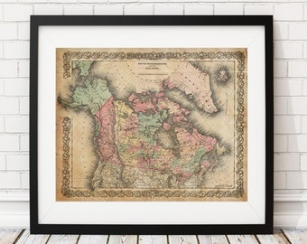 Canada Map, British Possession Map, North America Map, Vintage Map Art, Antique Map Print, Wall Art, History Gift, Old Maps, Map Poster