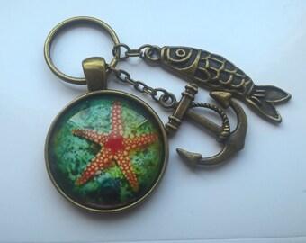 starfish keychain, fish keyring, anchor bag charm, sealife keyring, starfish keyring, fish keycharm, anchor keychain, starfish bag charm
