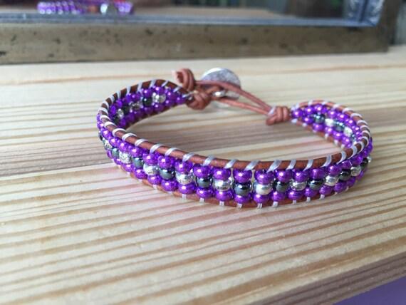Purple wrap bracelet with silver and pewter gray accents, single wrap bracelet, gift, Christmas, bridesmaid, elegant, elegant,