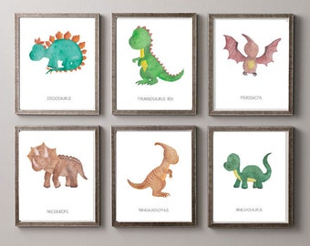 6 Dinosaurs Watercolor Prints- Nursery Room or Playroom art print (Includes 6 prints)