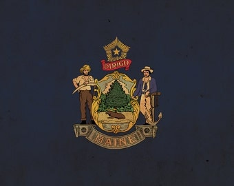 Vintage Maine Flag on Canvas, Maine, Flag, Wall Art, Maine Photo, Maine Print, Giclee, Fine Art, Lobster Flag, Single or Multiple Panels