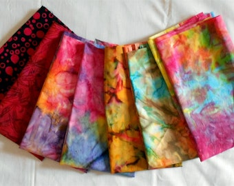 Batik Fabric Fat Quarter Bundle 7pc. - Pink Dots on Black/red/mauve/orange/purple/Green/Blue/Yellow (#O153)