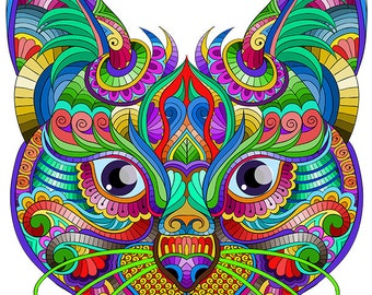 Cat Coloring Page For Calm, Relaxation, and Stress Relief - Adult Coloring Book Art Page Print Instantly