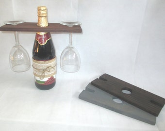 Handcrafted Wood Caddy Wine Bottle & Glass Holder/Carrier Oak, Espresso, Gray, White