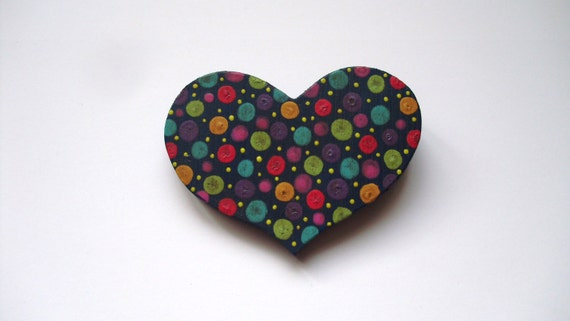 """hand painted wood heart-3-1/2"""" wide x 2-1/2"""" tall, folk art style/prairie chic/country jewelry/flea market style"""