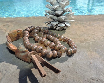 Beaded Stackable Tibetan Agate, Wood, Leather, and Jasper Bracelet