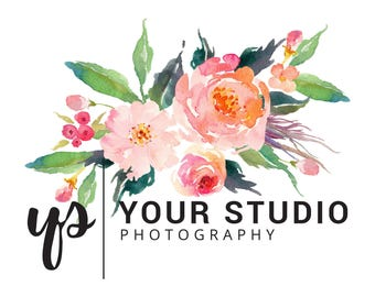 Custom Premade Watercolor Flower Photography Logo