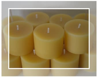 Pure Organic Australian Beeswax Stubby Votive Candles (Bees Wax)