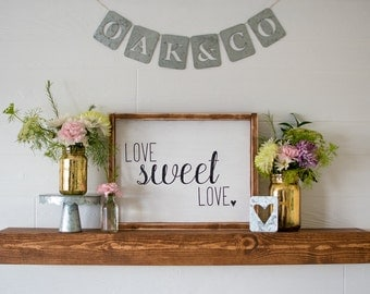 Love Sweet Love Rustic Wood Framed Sign Typography Wedding Home Valentine's Day Decor