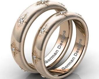 Gorgeous Italian 14K Rose Gold Rigato Diamond Wedding Band Set G1112SB-14KRGRD