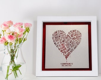 Wedding day/ Anniversary Gift - 8 x 8 inch framed Love Is Patient Laser Cut Art