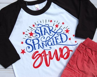 Star Spangled Stud/4th Of July Raglan/Independence Day Baseball Tee/Boys 4th of July Tee