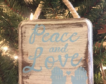 Peace and Love - Wooden Beach Ornament