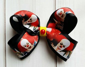 IT Hair Bow/Pennywise Hair Bow/Pennywise Hair Clip/Pennywise Barrette/Stephen King's IT Bow/Character Hair Bow/Halloween Hair Bow/Scary Bow