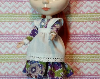 Blythe outfit - dress, apron and knickers - purple and pink floral
