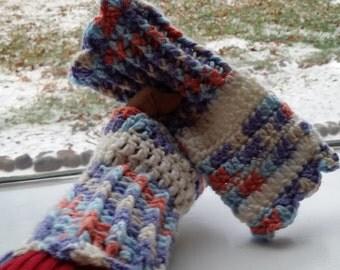 SALE***Crochet wrists warmer, (Ombre fleuri)