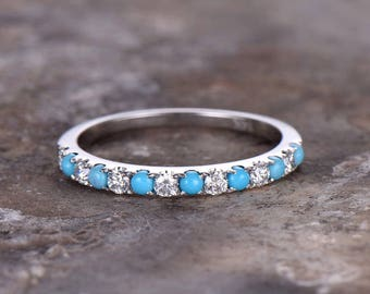 Half eternity turquoise ring,925 sterling silver wedding band,white gold plated,anniversary ring,pstacking matching band,prongt,pave set
