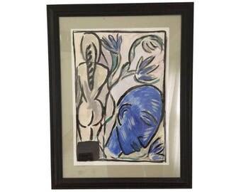 Michel Lecomte 1988 Original Gouache Painting