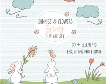Bunnies and Flowers/ Easter/ Spring clip art set