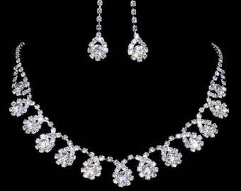 Shiny Charming Silver Wedding Engagement Party Rhinestone Crystal Necklace Earrings Set