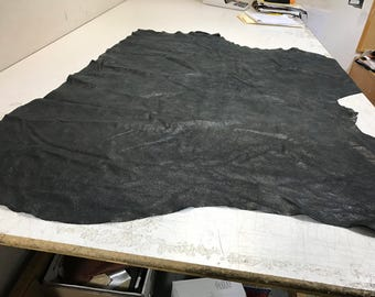 LIMITED OFFERING: Black Distressed Leather- Black Diesel Vintag Leather. Perfect for Handbags, Shoes, Garments, Accessories, Leather Crafts