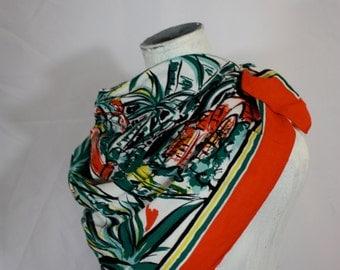 Bold Red, Green + White TIKI Polynesian Print Vintage Rayon Scarf Large Square | Safari Chic 1970s | One Size