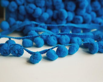 "DEEP TURQUOISE ""Regular"" PomPom Trim, Ball Fringe - 3 Yard Increments"