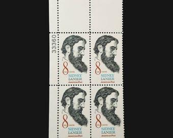 1972 8c Sidney Lanier stamps - Scott 1446 Block of four - 8 cents Sidney Lanier American Poet stamp