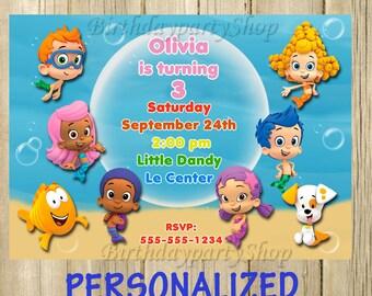 Bubble Guppies Invitation, Bubble Guppies Birthday, PERSONALIZED, Digital File