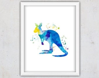 Watercolor Kangaroo Print, Zoo Animal Wall Art, Abstract Print Nursery, Poster, Kids Art Print, Instant Download Digital, Nursery Printable