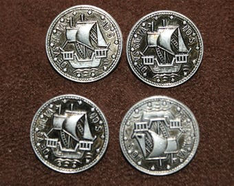 4 Vintage Silver Ship Shank Buttons 22mm Naval Galleons
