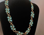 1950s Jewelry Styles and History 1950s Coro powder  blue enamel flower  gold tone  16 long choker    20.00 $20.00 AT vintagedancer.com