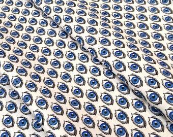 Fabric l'oeil blue - size to 1 quantity 50 cm x 160 cm - 100% cotton